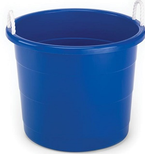 HOMZ 17 Gal. Rope Handle Storage Tub in Blue
